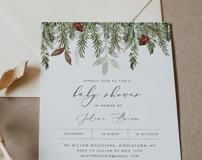 Winter Baby Shower Invitation Template, Printable Pine Baby Shower Invite, Christmas, Editable, Instant Download, Templett #0017-196BA