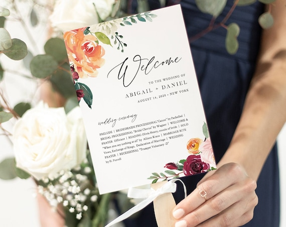 Wedding Program Template, Order of Service, INSTANT DOWNLOAD, Fan or Flat Program, 100% Editable, Orange & Burgundy Boho Florals #002-421WP