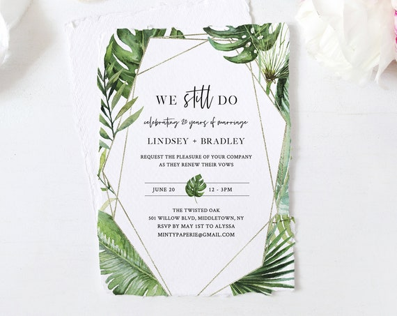 Tropical Vow Renewal Invitation Template, Destination Beach Wedding Vow, Anniversary Invite, 100% Editable Text, Instant Download #083-120VR