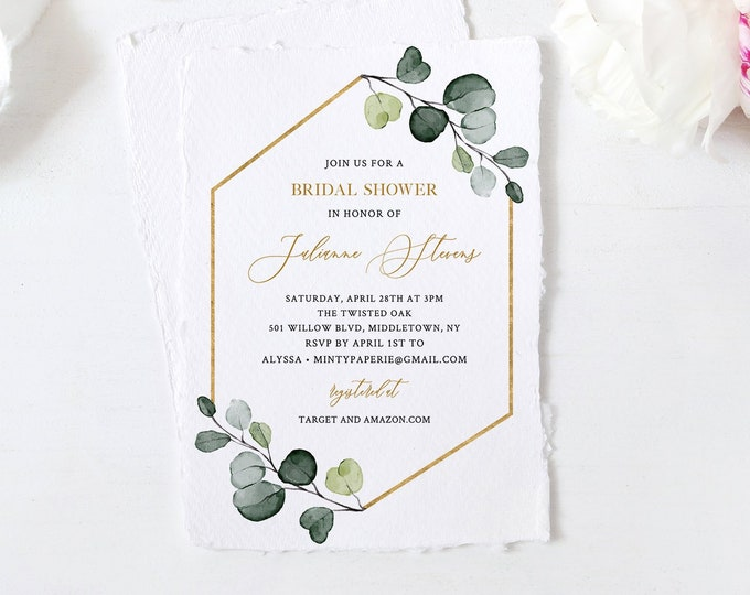 Bridal Shower Invitation Template, Greenery and Gold, 100% Editable Text, Printable Eucalyptus Bridal Shower, Instant Download #007-220BS