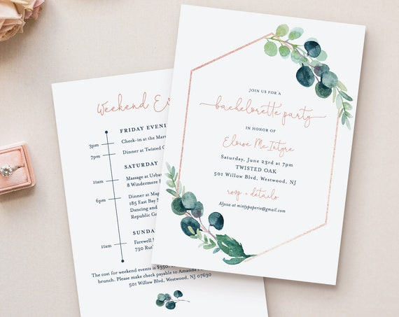 Greenery Bachelorette Invitation & Itinerary Timeline, Editable Template, Printable, INSTANT DOWNLOAD, Templett #068B-127BP