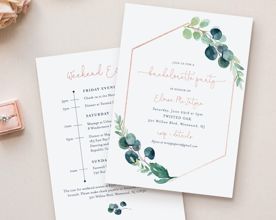 Greenery Bachelorette Invitation & Itinerary Timeline, Editable Template, Printable, INSTANT DOWNLOAD, Templett #068-127BP