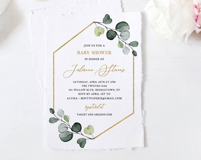 Baby Shower Invitation Template, Greenery and Gold, Printable Baby Shower Invite, 100% Editable, DIY, Instant Download, Templett #007-105BA