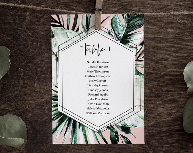 Tropical Seating Chart Template, Editable Beach Wedding Seating Plan, Destination Wedding, Palm, INSTANT DOWNLOAD, Templett, DIY #087-129SP