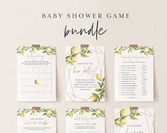 Baby Shower Game Bundle, 10 Editable Games, INSTANT DOWNLOAD, Personalize Questions, Citrus Lemon Shower, Editable Template, DIY #089BBGB