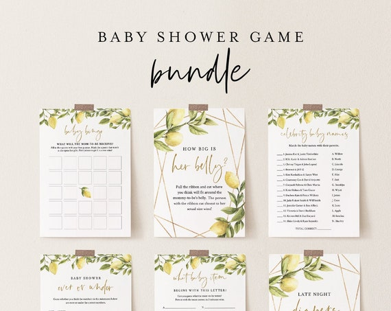 Baby Shower Game Bundle, 10 Editable Games, INSTANT DOWNLOAD, Personalize Questions, Citrus Lemon Shower, Editable Template, DIY #089BBGB