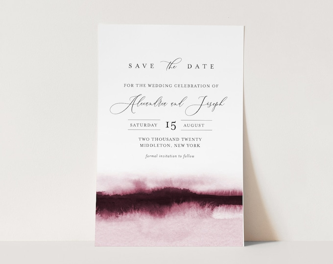 Watercolor Save the Date Template, 100% Editable Text, Modern Minimalist Wedding Date, DIY, Templett, Digital, Instant Download #093B-160SD