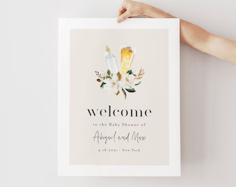 BBQ Baby Shower Welcome Sign Template, Printable Baby Brewing Shower Poster, Instant Download, 100% Editable Text, Templett #0013-213LS