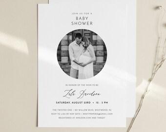 Photo Baby Shower Invitation Template, Minimalist Baby Shower Invite, Printable, INSTANT DOWNLOAD, 100% Editable, DIY, Templett #094-182BA