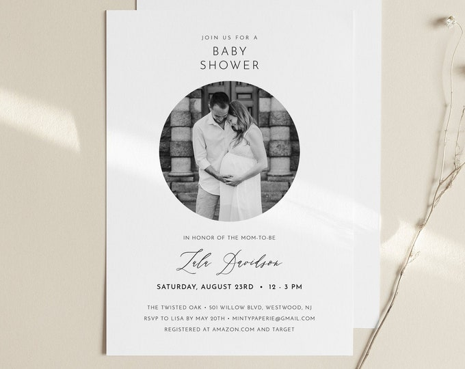 Photo Baby Shower Invitation Template, Minimalist Baby Shower Invite, Printable, INSTANT DOWNLOAD, 100% Editable, DIY, Templett #094-182BA