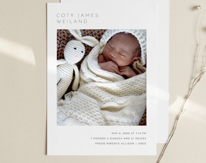 Modern Birth Announcement, Photo Baby Announcement Card, Newborn, 100% Editable Template, Printable, Instant Download, Templett #104BAC