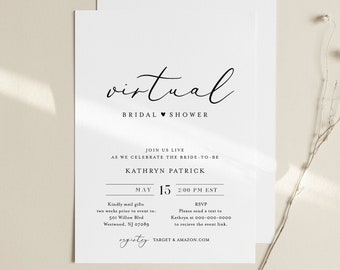 Virtual Bridal Shower Template, Minimalist Bridal Shower Invitation, Social Distance, 100% Editable, Instant Download, Templett #045-272BS