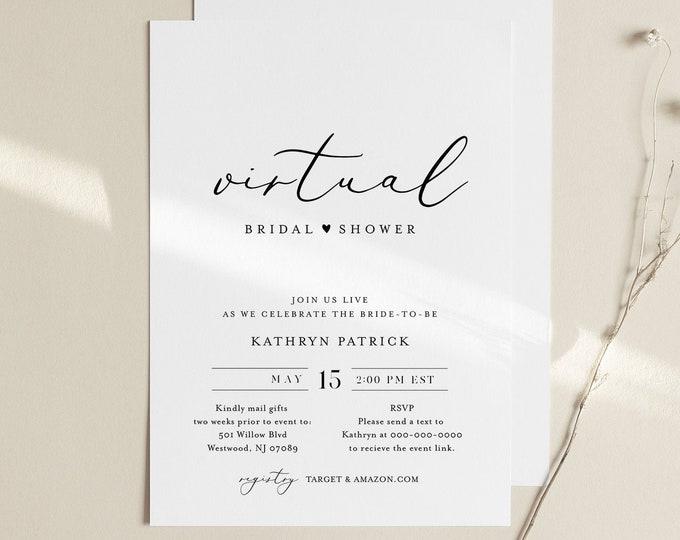 Virtual Bridal Shower Template, Minimalist Bridal Shower Invitation, Social Distance, 100% Editable, Instant Download, Templett #045-272BS