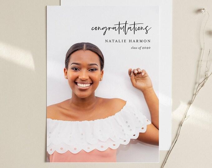 Graduation Announcement Template, Editable Photo 2020 Graduate Postcard, Senior Photography Card, Instant Download, Templett, 5x7 #103GA