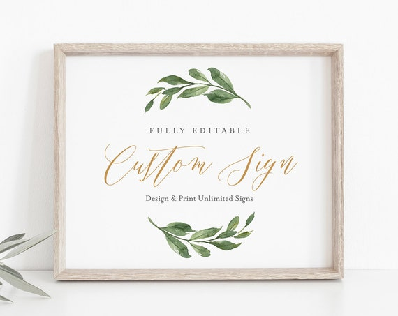 Editable Sign Template, Design & Create Unlimited Times, Custom Wedding Sign, Greenery and Gold, INSTANT DOWNLOAD, Templett #067-141CS