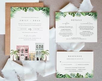 Charleston Wedding Suite, Simple, Elegant, Rainbow Row Wedding Invitation, RSVP, Detail, Editable Template, Instant Download, Templett #017B