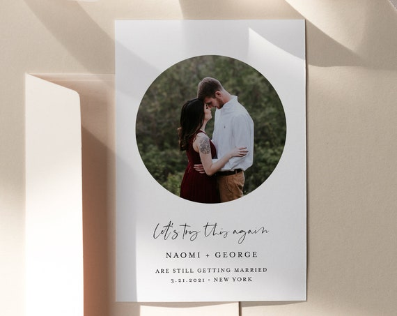 Photo Change of Plans, Postponed Wedding Date Announcement, Let's Try This Again, 100% Editable, Instant Download, Templett, 4x6 #096-111PA2