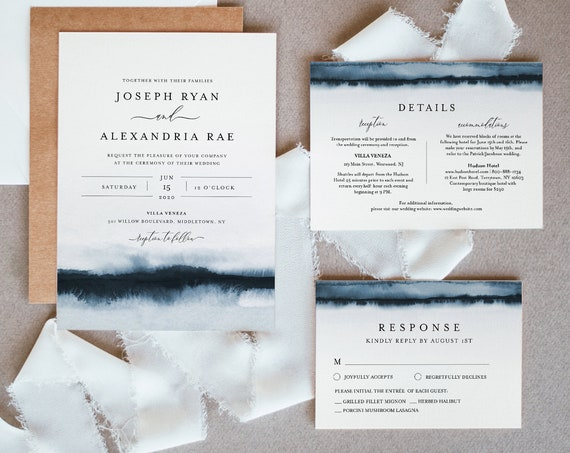 Watercolor Wedding Invitation Set, Lake, Beach, Destination Theme, Modern, Minimalist, Editable Template, Instant Download, Templett #093A