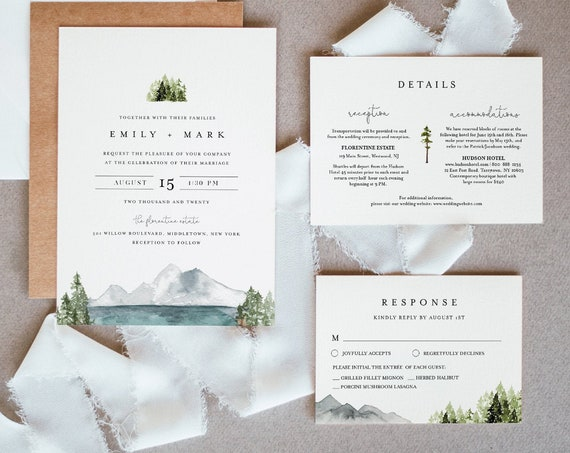 Lake Wedding Invitation Set, Lakeside, Mountain, Woodland Pine, Rustic Wedding, Editable Template, Instant Download, Templett #017A