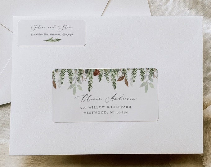 Winter Pine Envelope Label Template, Printable Holiday Return and Recipient Address Sticker, Editable, Instant Download, Templett 0017-119AL