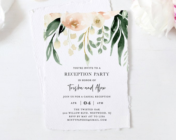 Reception Party Invitation Template, Elopement Invite, Casual Wedding Reception, 100% Editable Text, Instant Download, Templett #076-108WR
