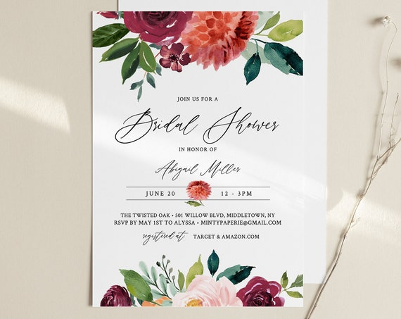 Bridal Shower Invitation Template, Instant Download, Burnt Orange Garden Bridal Shower Invite Template, Editable, Templett, Fall #002-247BS