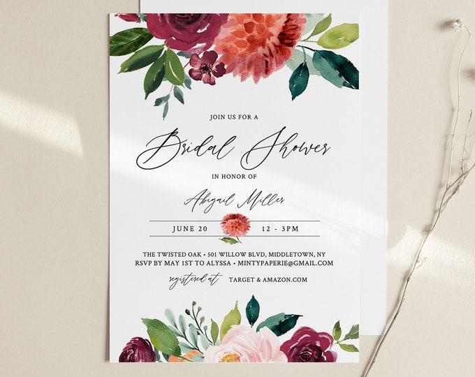 Bridal Shower Invitation Template, Instant Download, Burnt Orange Garden Bridal Shower Invite Template, Editable, Templett, Fall #002-247BS