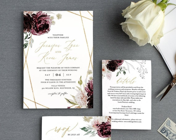 Purple Floral Wedding Invitation Set, Editable Template, Romantic Moody Florals, Gold Geometric Invite, RSVP & Detail, INSTANT DOWNLOAD 074B