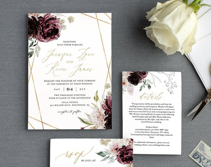 Purple Floral Wedding Invitation Set, Editable Template, Romantic Moody Florals, Gold Geometric Invite, RSVP & Detail, INSTANT DOWNLOAD 074B