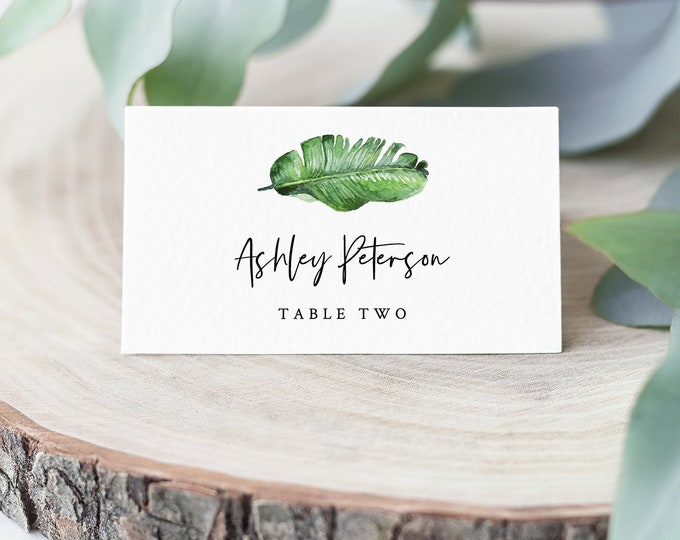 Tropical Place Card Template, INSTANT DOWNLOAD, Printable Beach Wedding Escort Card, Name Card, Seating Card, Editable Text #083-142PC