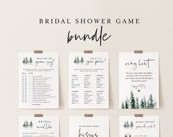 Bridal Shower Game Bundle, 12 Editable Templates, INSTANT DOWNLOAD, Customize Name & Questions, Winter Pine Bridal Games, Templett #073BGB