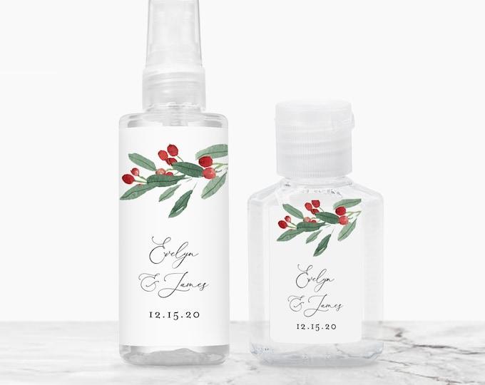 Holly Hand Sanitizer Label Template, Winter Wedding / Bridal Shower Favor, Christmas, Editable, Instant Download, Templett #071-112HS