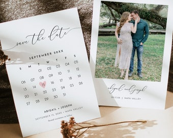Save the Date Card Template, Calendar, Photo Card,  Printable Wedding Date Card, Instant Download, 100% Editable, Templett, 5x7 #024-116SD