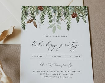 Holiday Party Invitation, Printable Rustic Pine Christmas Party Invite, Holiday Dinner, Editable, Instant Download, Templett #0017-102HP