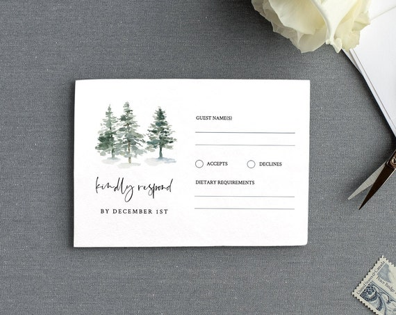 Pine Tree RSVP Card Template, INSTANT DOWNLOAD, 100% Editable Text, Printable Rustic Wedding Response Postcard, DiY, Self-Editing #073-rsvp