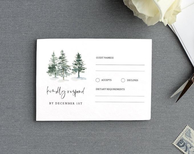 Pine Tree RSVP Card Template, INSTANT DOWNLOAD, 100% Editable Text, Printable Rustic Wedding Response Postcard, DiY, Self-Editing #073-rsvp