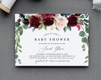 Boho Baby Shower Invitation Template, Printable Winter Baby Shower, Gender Neutral, 100% Editable Text, Instant Download, Templett 062-112BA