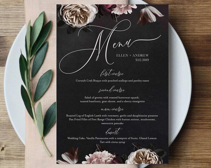 Wedding Menu Template, Dark Moody Floral Menu, Purple & Cream Dinner Menu, Bar Menu, 100% Editable Text, INSTANT DOWNLOAD, 2 Sizes 009-135WM