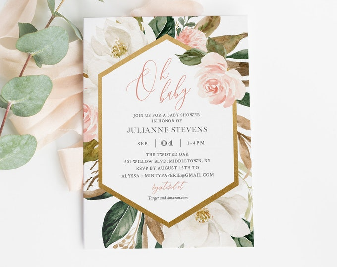 Baby Shower Invitation Template, Magnolia Floral & Gold, Printable Baby Shower Invite, Editable Text, Instant Download, Templett #015-122BA