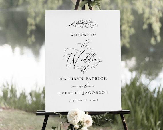 Calligraphy Wedding Welcome Sign, Printable Minimalist Bridal Shower Welcome Sign, Instant Download, Editable Template, Templett #003-185LS