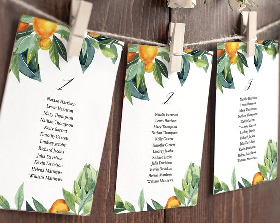 Citrus Seating Chart Template, Orange / Lemon Wedding Seating Plan, Editable Table Card, INSTANT DOWNLOAD, Printable, Templett #084-125SP