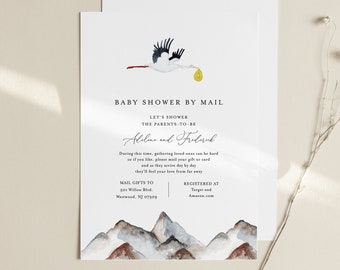Stork Baby Shower by Mail Template, Social Distancing Baby Shower Invite, 100% Editable Text, Instant Download, Templett #155BA