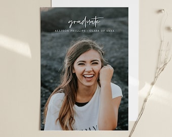 Graduation Announcement Template, Editable Photo Graduate Postcard, Senior Photography, Minimalist, Instant Download, Templett, 5x7 #103GA