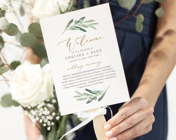 Fan Wedding Program, Printable Greenery Order of Service Template, 100% Editable, INSTANT DOWNLOAD, Fan or Flat Program #081-418WP