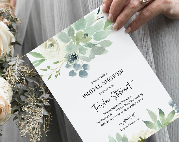 Succulent Bridal Shower Invitation Template, Delicate Garden Greenery, Wedding, DIY Printable Couples Shower, 100% Editable Text #075-214BS