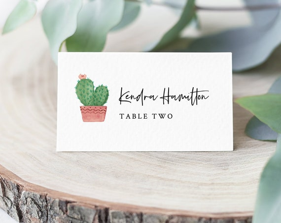Cactus Place Card Template, INSTANT DOWNLOAD, Printable Succulent Wedding Escort Card, Name Card, Seating Card, Editable Text #086-141PC