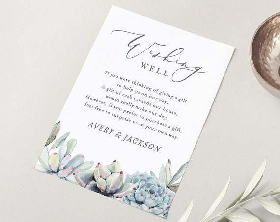 Succulent Wishing Well Card Template, Editable, Wedding Wishing Well Poem, Gift Request Insert, INSTANT DOWNLOAD, Templett #048-125EC 041