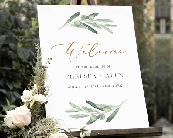 Olive Greenery Welcome Sign Template, Wedding or Bridal Shower Welcome Sign Poster, Instant Download, Editable Text, Templett #081-152LS