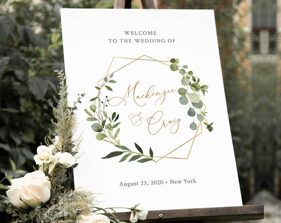 Welcome Sign Template, Greenery Wedding, Bridal Shower, Baby Shower Poster Sign, INSTANT DOWNLOAD, 100% Editable Text, Templett #056-163LS