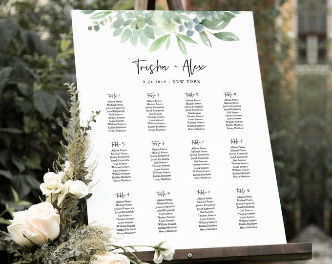 Succulent Wedding Seating Chart Template, Printable Bridal Shower Seating Sign, Instant Download, 100% Editable Text, Templett #075-235SC